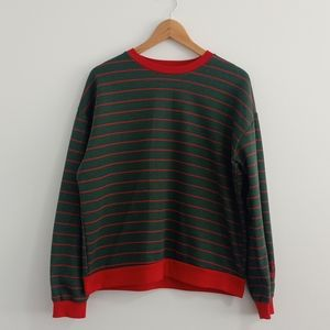 Red and green vintage striped sweater.